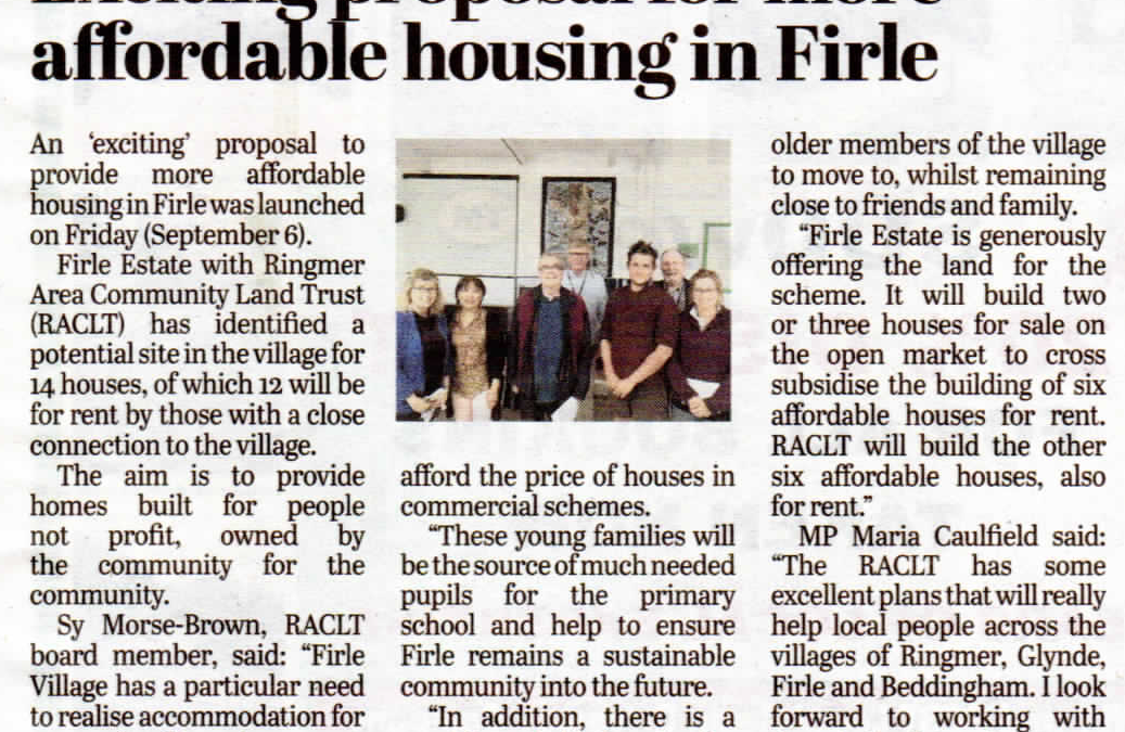 Firle Community Housing Launch Day
